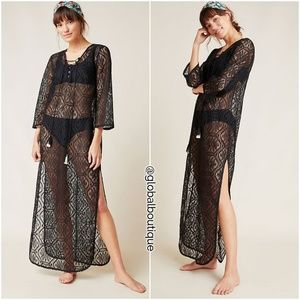 RARE NWT ANTHROPOLOGIE Riley Lace Tasseled Caftan